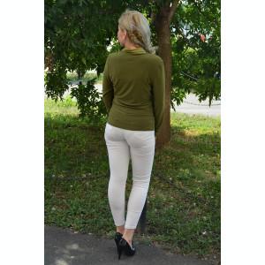 Bluza eleganta kaki, cu maneca lunga si insertii satinate