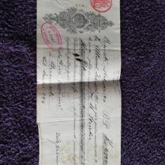 document bancar foarte vechi cu timbre taxa