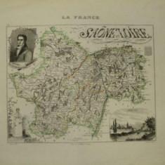 Harta regiunii Saone - Loire, Franta 1830