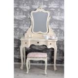 Masa toaleta din lemn masiv alb antichizat cu scaunel roz VIC008