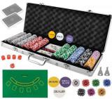 Set de poker 500 jetoane, greutate jeton 13g, servieta aluminiu, 5 zaruri, 2 pachete carti de joc