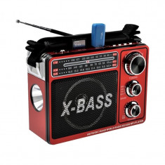 Radio FM/AM Waxiba XB-206URT, USB, lanterna LED, acumulator integrat, Rosu