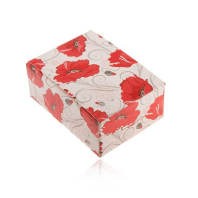 Cutie de cadou pentru inel și cercei sau lanț, flori roșii foto