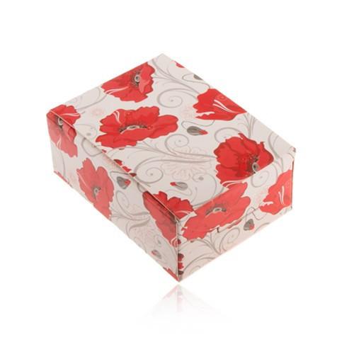Cutie de cadou pentru inel și cercei sau lanț, flori roșii