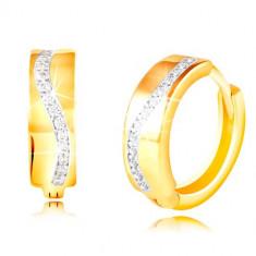 Cercei rotunzi din aur 585 - val strălucitor din zirconii transparente