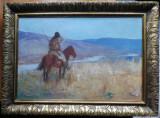Dumitru I. Stoica ( Dumitrescu ) , Paznic la hotare . u / lemn ,lucrare in album, Istorice, Ulei, Realism