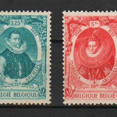 TIMBRE 140c, BELGIA, 1942, ALBERTUS, ISABELLA ; 3,25+6,75 Fr ; 5+10 Fr ; SERIE