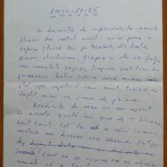 Manuscris olograf Geo Bogza , Philippide , 7 pagini , 1980