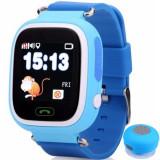 Ceas Smartwatch cu GPS Copii iUni Kid100, Touchscreen, Bluetooth, Telefon incorporat, Buton SOS, Albastru + Boxa Cadou
