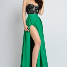 Rochie de seara verde Atmosphere cu corset negru paietat