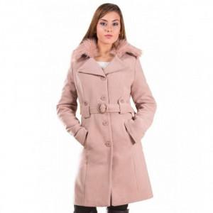 Palton de iarna cu guler imblanit Marina cappuccino