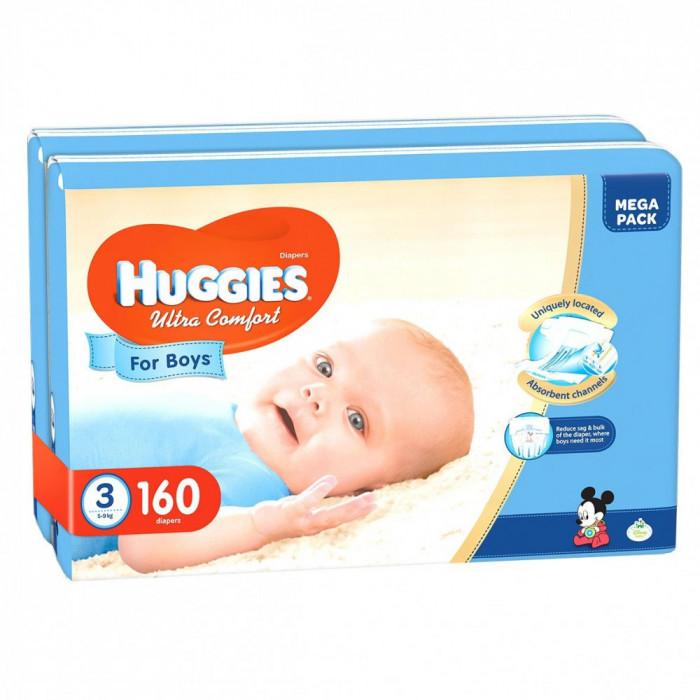 Scutece Huggies Ultra Confort Mega, Numarul 3, pentru baieti, 80 bucati, 5-9 Kg