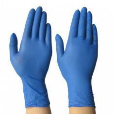 Manusi din Nitril de Unica Folosinta, Marime M, Culoare Albastru, cutie 100 buc