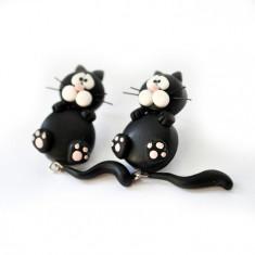 Cercei Pisici Negre-Handmade