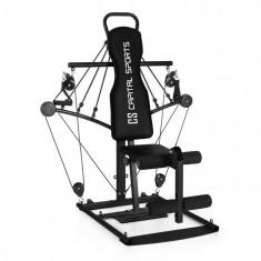 Capital Sports TUBEY, neagră, sală de fitness mini, cabluri din cauciuc, oțel
