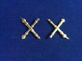 Insigne militare - Insigne România - Semne de armă - Artilerie  (culoare aurie)