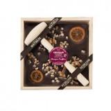 Ciocolata neagra in cutie de lemn Comptoir de Mathilde cu portocale confiate | Comptoir de Mathilde