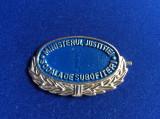 Insignă - Semn de armă -Ministerul Justiției - Școala de subofițeri I (albastru)