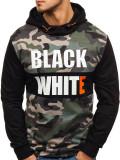 Bluză pentru bărbat cu glugă și imprimeu neagră Bolf W1717