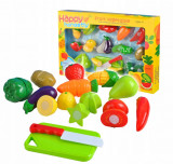Set Fructe, Legume si Elemente Bucatarie de Joaca pentru Copii, 14 Elemente Multicolore