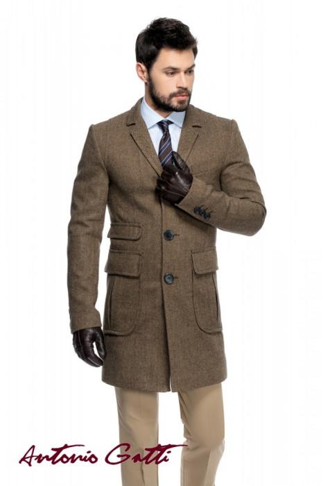 Palton barbati slim maro B125