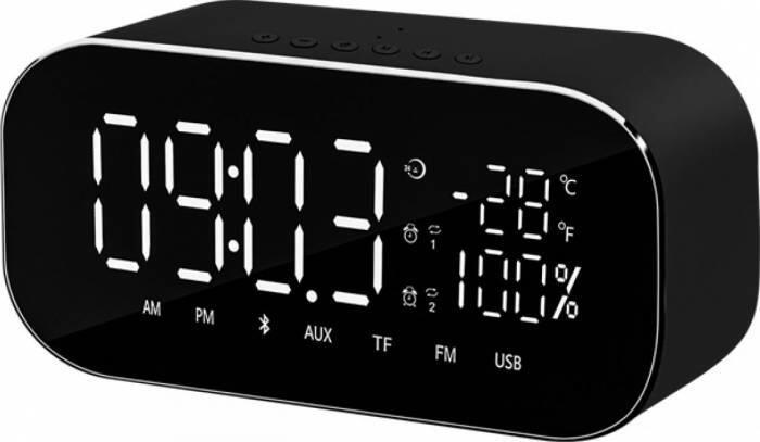 Radio ceas Akai ABTS-S2 cu BT, radio FM, carcasa aluminiu, baterie 1800 mAh, Negru