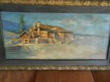 C-tin Isachie Popescu-Plaja la Marsilia-ulei/panza,120x60 cm,rama splendida