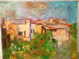 Tablou ulei Ion Musceleanu-Case in Pangratti, semnata, Peisaje, Impresionism