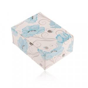 Cutie de cadou din hârtie pentru inel și cercei sau lanț, maci albaștri