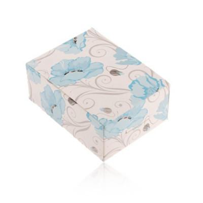 Cutie de cadou din hârtie pentru inel și cercei sau lanț, maci albaștri foto