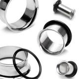 Piercing lucios, din oţel, pentru ureche, cu bandă de cauciuc, neagră - Lățime: 8 mm