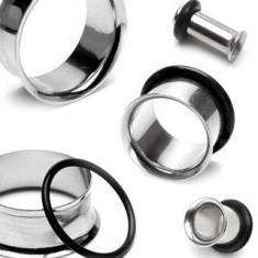 Piercing lucios, din oţel, pentru ureche, cu bandă de cauciuc, neagră - Lățime: 3 mm