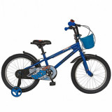 Cumpara ieftin Bicicleta Copii VELORS V1801A, Roti 18inch, cosulet, roti ajutatoare (Albastru)