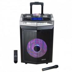 Boxa activa portabila akai dj-6112bt cu dj mixer bluetooth dual usb radio microfon wireless telecomanda