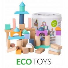 Cuburi din lemn Ecotoys 50 piese