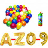 Cumpara ieftin Pachet 5 baloane numere / cifre la alegere, 1 butelie heliu, 100 baloane 26cm metalizate