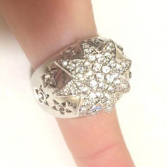 Inel placat cu aur alb 18k si cristale Swarovski- marimea 9 ,19mm