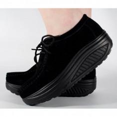 Pantofi negri piele naturala talpa convexa (cod 186005)