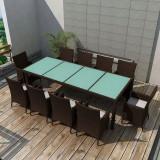 Set mobilier de exterior 21 piese, poliratan, maro