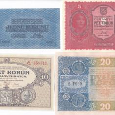 Bancnota Cehoslovacia 1-5.000 Korun 1919 - P6-14 ( set 9 reproduceri )