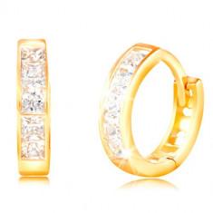 Cercei din aur galben de 14K - arcuri, zirconii pătrate transparente
