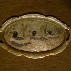 Tava ovala cu anse,bronz cloisonne-rate pe lac,margine lobata,30,5x18cm