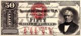 50 dolari 1878 Reproducere Bancnota USD , Dimensiune reala 1:1