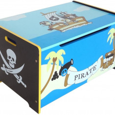 Ladita din lemn pentru depozitare jucarii Blue Pirate Treasure Chest