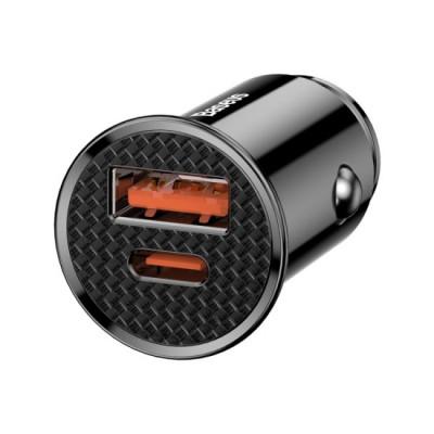 Incarcator Auto Baseus Circular cu functie QuickCharge 40 Iesiri USB si USBC PD 30W Negru foto