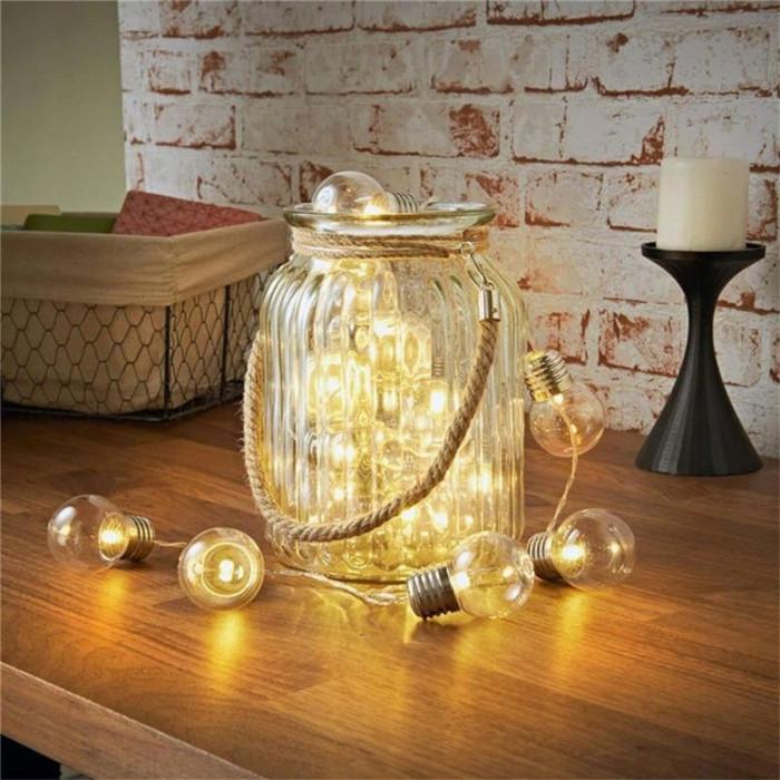 Ghirlanda decorativa 20 becuri LED, lumina alb cald, lungime 5.2 m, baterii