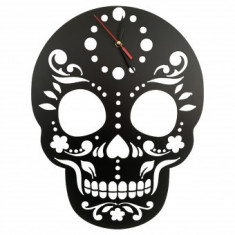 Ceas de perete metalic Krodesign Skull, diametru 45 cm, negru