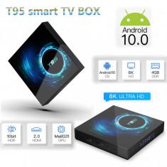 Adaptor smart TV box T95 ,4/32 GB RAM 2020 Android 10, Negru, 6K