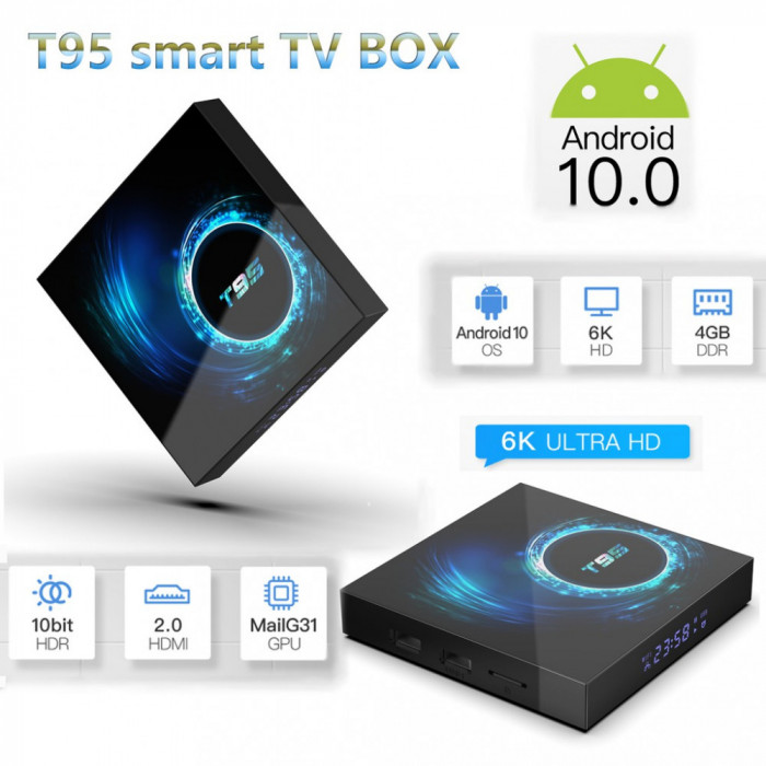 Adaptor smart TV box T95 ,4/32 GB RAM 2020 Android 10, Negru, 6K