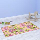 Covoraș de joacă, fir buclat, 133 x 190 cm, model orășel